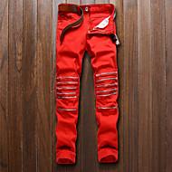 Homens Casual Punk & Góticas Cintura Média Micro-Elástica Delgado Jeans Chinos Calças, Algodão Poliéster Primavera Outono Todas as