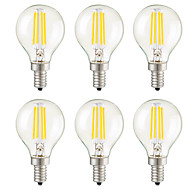 E14 E12 E26/E27 Lâmpadas de Filamento de LED G45 4 leds COB Regulável Decorativa Branco Quente 400lm 2700K AC 220-240 AC 110-130V