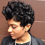 Trendy Curly Haircut Short Hairstyles Capless Human Hair Wigs For Black Woman 2017