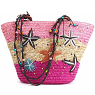 cheap Bags-Women's Bags Straw Zipper Shoulder Bag Acrylic Jewels for Casual Office & Career Outdoor All Seasons Blue Pink