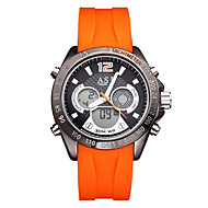 저렴한 -ASJ 남성용 디지털 시계 일본어 달력 / 방수 / 멋진 실리콘 밴드 캐쥬얼 / 패션 블랙 / 오렌지