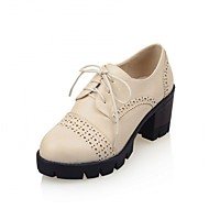 Women's Shoes Synthetic Leatherette PU Spring Summer Fall Winter Comfort Novelty Oxfords Walking Shoes Chunky Heel Block Heel Round Toe