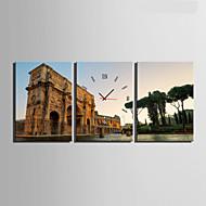 Moderne / Nutidig Andre Veggklokke,Rektangulær Lerret35 x 50cm(14inchx20inch)x3pcs/ 40 x 60cm(16inchx24inch)x3pcs/ 50 x