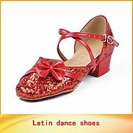 billige Moderne sko-Barn Latin Salsa Paljett Kunstlær Sandaler Trening Nybegynner Profesjonell Innendørs Opptreden Sløyfe Spenne Lav hæl Gull Sølv Lilla Rød