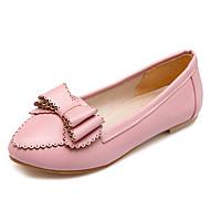baratos Sapatos de Tamanho Pequeno-Mulheres Sapatos Courino Primavera / Verão Conforto / Bailarina / Solados com Luzes Rasos Caminhada Sem Salto Dedo Apontado Laço Preto /