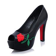 olcso -Hímzett cipő-Stiletto-Női cipő-Magassarkúak-Irodai Ruha Party és Estélyi-Mikroszálas-Fekete Piros Fehér