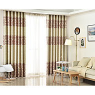 cheap Curtains Drapes-Rod Pocket Grommet Top Tab Top Double Pleat Pencil Pleat Two Panels Curtain Mediterranean, Jacquard Geometic Bedroom Linen/Polyester Blend
