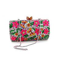 baratos Clutches & Bolsas de Noite-Mulheres Bolsas PU Bolsa de Ombro Laço(s) / Flor Amarelo / Fúcsia / Rhinestone Crystal Evening Bags