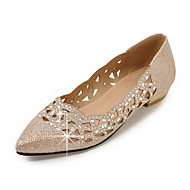 cheap Women's Flats-Women's Shoes Glitter Spring Summer Fall Ballerina Club Shoes Flats Walking Shoes Flat Heel Pointed Toe Sequin Sparkling Glitter for