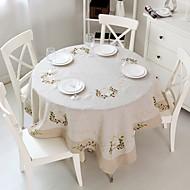 円形 方形 刺繍 テーブルクロス , リネン 材料 ホームデコレーション ホテルのダイニングテーブル ウェディングパーティーの装飾 結婚式の宴会ディナー クリスマスの装飾の好意 表Dceoration ウェディング ディナーインテリアの好意 1