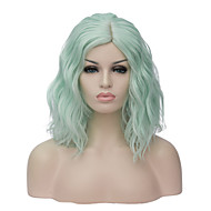 Synthetic Wig Wavy Bob Green Synthetic Hair Women's Side Part Wig Short Capless