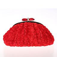 お買い得  イブニングバッグ-女性用 バッグ ポリエステル イブニングバッグ リボン / レース / フラワー のために 結婚式 / イベント/パーティー / フォーマル ホワイト / ブラック / ルビーレッド