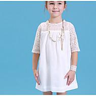 Menina de Vestido Sólido Verão Algodão Meia Manga Branco