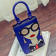 Women Bags All Seasons PU Shoulder Bag for Outdoor Blue White Red