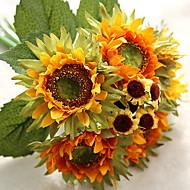 6 ramo de girassol de seda flor de mesa flor artificial flor de mesa