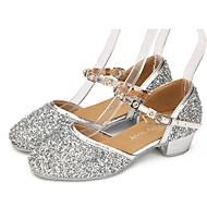 billige Moderne sko-Barne Latin Blonder Glimtende Glitter Paljett Kunstlær Syntetisk Flate Sandaler Joggesko Høye hæler Innendørs Ytelse Profesjonell