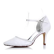 レディース-ウェディング ドレスシューズ パーティー-サテン 化繊-スティレットヒールヒール-ホワイト