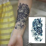 cheap Temporary Tattoos-1 pcs TTrendy Temporary Tattoo Flower Rose Clock Jewel Death Pirate Skull Tattoos Stickers For Lower Arm Body Art Men