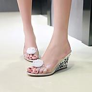 baratos Sapatos Femininos-Mulheres Sapatos PVC Primavera / Verão Sandálias Salto Plataforma Peep Toe Flor Dourado / Prata / Festas & Noite / Festas & Noite