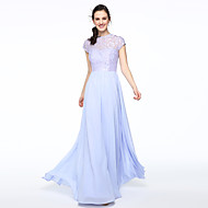 cheap -A-Line Jewel Neck Floor Length Chiffon / Lace Bodice Bridesmaid Dress with Lace / Pleats by LAN TING BRIDE® / Illusion Sleeve