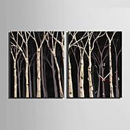 Moderne / Nutidig Andre Veggklokke,Rektangulær Lerret35X50cm(14inchx20inch)x2pcs/ 40 x 60cm(16inchx24inch)x2pcs/ 50 x