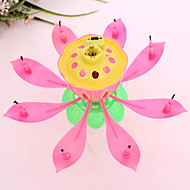 cheap Candles & Candleholders-Musical Lotus Flower Candles Happy Birthday Candle for Party Gift Lights Decoration