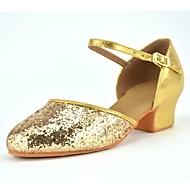 """billige Moderne sko-Barne Latin Kunstlær Høye hæler Innendørs Paljett Gummi Spenne Tykk hæl Gull Rød 1 """"- 1 3/4"""" 3 """"- 3 3/4"""" Kan ikke spesialtilpasses"""