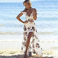 Playa Corte Ancho Vestido - Separado Estampado Maxi Escote en V Profunda Blanco / Hombros Caídos / Floral