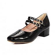 זול Small Size Shoes-בגדי ריקוד נשים נעליים דמוי עור / PU אביב / קיץ נוחות / חדשני עקבים הליכה עקב עבה / חסום את העקב בוהן מרובעת אבזם לבן / שחור / חום בהיר