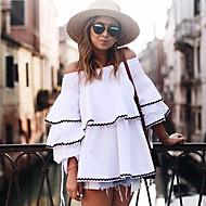 Χαμηλού Κόστους naomi-Γυναικεία T-shirt Βίντατζ - Μονόχρωμο, Μανίκι Πέταλο Χαμόγελο Φαρδιά Εξώπλατο Με Βολάν Βαμβάκι Spandex