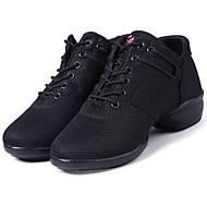 "cheap Dance Sneakers-Women's Jazz Dance Sneakers Tap Salsa Fabric Sneaker Performance Professional Beginner Practice Chunky Heel Black Red 1"" - 1 3/4"" Non"