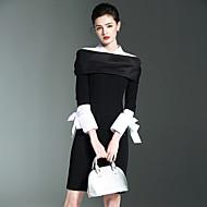 Jednoduchý Práce Bodycon Šaty Jednobarevné,Dlouhý rukáv Košilový límec Nad kolena Polyester Nylon Spandex Jaro Léto Mid Rise Lehce