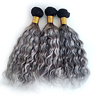 3pcs/lot Brazilian Ombre Grey Natural Wave Curly Hair Weft Dark Root Grey Human Hair Bundles