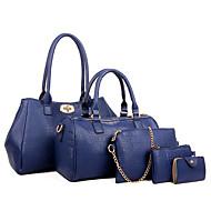 Χαμηλού Κόστους Σετ τσάντες-Γυναικείο Τσάντες Όλες οι εποχές PU Σετ τσάντα 5 σελ. Σετ πορτοφολιών για Causal Αθλητικά Μαύρο Φούξια Μπλε Κρασί