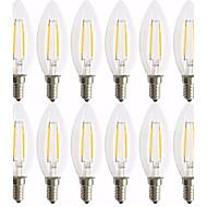 2W E14 LED-gloeilampen C35 2 leds COB Decoratief Warm wit 180lm 2700K AC 220-240V