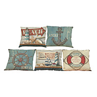 Set of 5 Sailing anchor pattern  Linen Pillow Case Bedroom Euro Pillow Covers 18x18 inches  Cushion cover