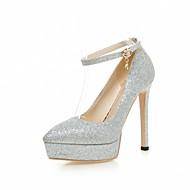 tanie Small Size Shoes-Damskie Obuwie Derma PU Wiosna Lato Comfort Zabawne Szpilki Spacery Szpilka Pointed Toe Klamra na Ślub Casual Impreza / bankiet Biuro i