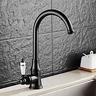 preiswerte Küchenarmaturen-Antike Standard Spout Becken drehbar Keramisches Ventil Einhand Ein Loch Öl-riebe Bronze, Armatur für die Küche