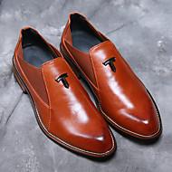 Masculino-Oxfords-Conforto sapatos Bullock-Salto Grosso Salto de bloco-Preto Marron-Courino-Casamento Escritório & Trabalho Festas & Noite