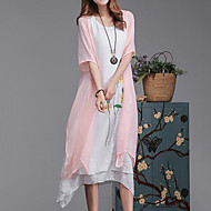 cheap -Women's Plus Size Loose Dress - Floral