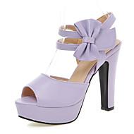 cheap Women's Sandals-Women's PU(Polyurethane) Spring / Summer Club Shoes Sandals Chunky Heel Peep Toe Bowknot / Hook & Loop Beige / Purple / Pink