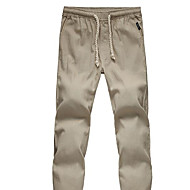 Men's Chinoiserie Linen Straight / Sweatpants Pants - Solid Colored Beige