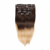 7pcs/set 14-18Inch Clip In Human Hair Extensions 75g-85g Blonde Hair Ombre Straight Hair