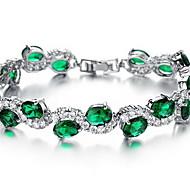 Řetězové & Ploché Náramky Křišťál Syntetický smaragd Módní Křišťál Zirkon Umělé diamanty Slitina Šperky Šperky Pro Zvláštní příležitosti