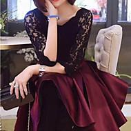Feminino Rendas Rodado Vestido,Festa Para Noite Sensual Sofisticado Sólido Decote Redondo Altura dos Joelhos Metade da luva Todas as
