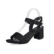 baratos Sapatos Femininos-Mulheres Sapatos Courino Primavera / Verão Sandálias Salto Robusto Dedo Aberto Preto / Verde / Sandálias de calcanhar