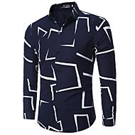Langærmet Klassisk krave Medium Forår Efterår Afslappet Daglig Arbejde Plusstørrelser Skjorte,Bomuld Polyester