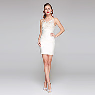 cheap -Sheath / Column Jewel Neck Short / Mini Lace Over Satin Made-To-Measure Wedding Dresses with Appliques / Side-Draped by LAN TING BRIDE® / Little White Dress / See-Through