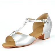 baratos Sapatilhas de Dança-Sapatos de Dança Latina Courino Salto Pedrarias Salto Robusto Não Personalizável Sapatos de Dança Prata / Interior / Couro