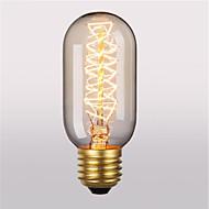 billige Glødelampe-1pc 40 W E26 / E27 T45 Varm hvit 2300 k Kontor / Bedrift / Dekorativ Glødende Vintage Edison lyspære 220-240 V